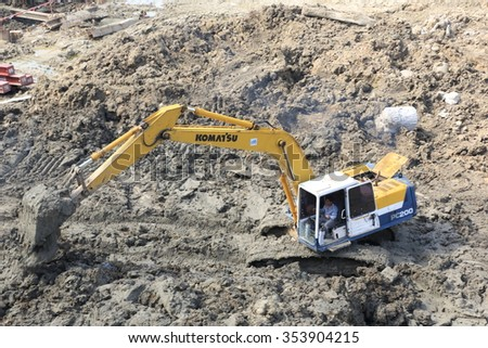 NOVEMBER 19, 2015 ; NONTHABURI - THAILAND : Concrete pile foundation under-construction with heavy equipment at Electricity generating authority of Thailand, Nonthaburi province.