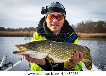November pike fishing in Swedish sea - stock photo
