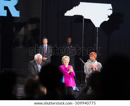 November 3, 2016.  Raleigh, North Carolina, USA.  Hillary Clinton Rally with  Bernie Sanders & Pharrell Williams