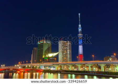 November 15th 2015, Tokyo, Japan. The Tokyo Skytree is illuminated with the colors of the French flag in memory of the Jihadists ISIS Terrorist Raid in Paris.