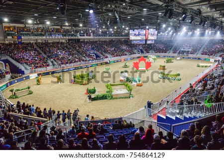 November 4, 2017. Toronto, Canada. View at Ricom Coliseum during the Royal Horse Show at throughout The Royal Agricultural Winter Fair on November 3-12, 2017 at Ricoh Coliseum in Toronto, Canada