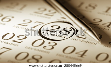 November 28 written on a calendar to remind you an important appointment.