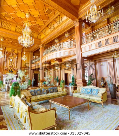 "Novi Petrivtsi, Ukraine - May 27, 2015 Mezhigirya residence of ex-president of Ukraine Yanukovich. Main hall of luxurious ""Khonka"" house"