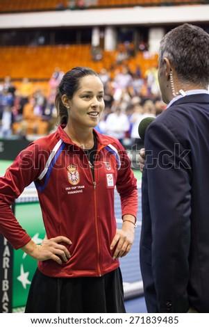 NOVI SAD - APRIL 18: ANA IVANOVIC of Serbia during the FED Cup match between Serbia and Paraguay, April 18 2015, Novi Sad, Serbia - stock photo