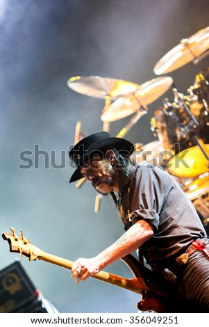 NOVI SAD - JULY 10 : Lemmy Kilmister founding member and singer in the British heavy metal band Motörhead performs at music festival Exit on July 10, 2015 in Novi Sad, Petrovaradin Fortress, Serbia  - stock photo