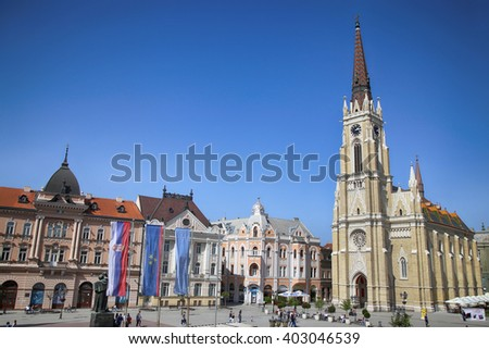 NOVI SAD, SERBIA - APRIL 03: View of Liberty Square (Trg Slobode) in Novi Sad, which in this city keeps the summer music festival EXIT. Photographed the in Novi Sad, Serbia on April 03, 2016 - stock photo