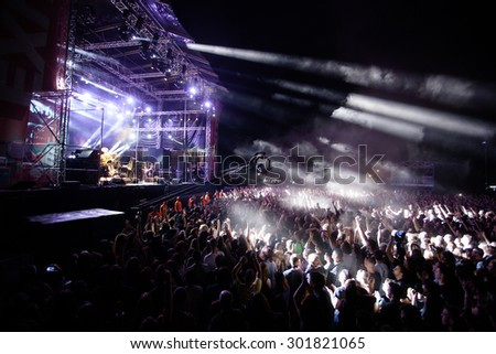 NOVI SAD, SERBIA - JULY 10 2015: Audience infront of the Main Stage at EXIT 2015 Music Festival, during MOTORHEAD's performance, on July 10, 2015 at the Petrovaradin Fortress in Novi Sad, Serbia.