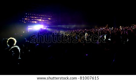 NOVI SAD, SERBIA - JULY 8: Audience infront of the Main Stage at EXIT 2011 Music Festival, during EDITORS performance, on July 8, 2011 in the Petrovaradin Fortress in Novi Sad.