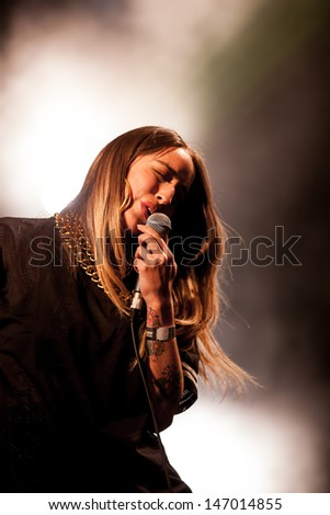NOVI SAD, SERBIA - JULY 13: Delilah performs at EXIT 2013 Music Festival, on July 13, 2013 at the Petrovaradin Fortress in Novi Sad, Serbia.