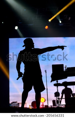 NOVI SAD, SERBIA - JULY 11 : Dr Locksmith from band Rudimental performs at Exit Festival on Petrovaradin fortress in Novi Sad, Serbia on July 11. Exit Festival was awarded as best European festival.