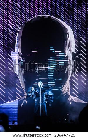 NOVI SAD, SERBIA - JULY 10: Pet Shop Boys perform at EXIT 2014 Best Major European Music Festival, on July 10, 2014 at the Petrovaradin Fortress in Novi Sad, Serbia. - stock photo
