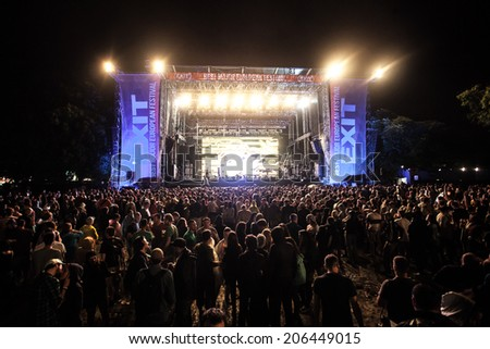 NOVI SAD, SERBIA - JULY 10: The Main Stage at EXIT 2014 Music Festival, between acts on July 10, 2014 in the Petrovaradin Fortress in Novi Sad.  - stock photo