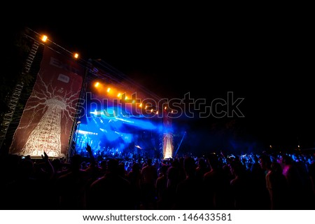 NOVI SAD, SERBIA - JULY 10: The Main Stage at EXIT 2013 Music Festival, during Viva Vox's performance on July 10, 2013 in the Petrovaradin Fortress in Novi Sad.