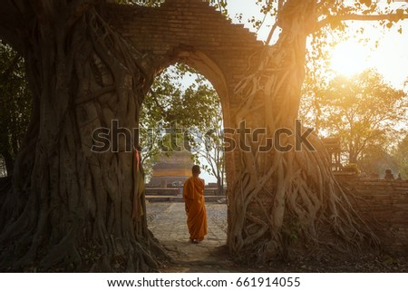 Novice monk at Ayutthaya historical park in Ayutthaya province of Thailand.