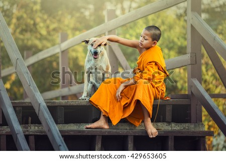 Novices and Dog on wooden bridge