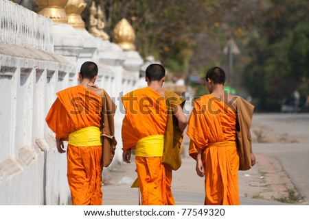 novices in Luang Phrabang, Lao - stock photo
