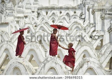 Novices in Myanmar - stock photo