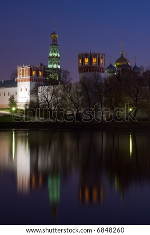 Novodevichiy monastery in Moscow (Russia) in twilight - stock photo