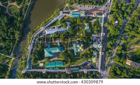 Novodevichy cathedral view from the top. Church aerial view. - stock photo