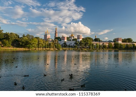 Novodevichy Convent, also known as Bogoroditse-Smolensky Monastery, Moscow, Russia (view from the lake)