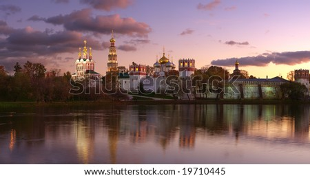 Novodevichy convent in the evening (view from the lake). Panorama. - stock photo