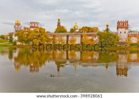 Novodevichy Convent landscape, Bogoroditse-Smolensky Monastery in Moscow, Russia. Moscow Baroque style. UNESCO World Heritage Site. Oil painting textured artwork based on photo - stock photo