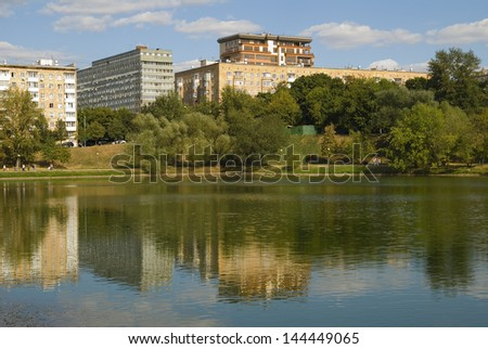 Novodevichy pond. Moscow, Russia. Vacation spot of townspeople - stock photo
