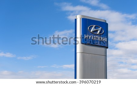 Novokuznetsk, Russia - March 22, 2016: Hyundai dealership logo. Hyundai Motor Company a South Korean automotive manufacturer. - stock photo