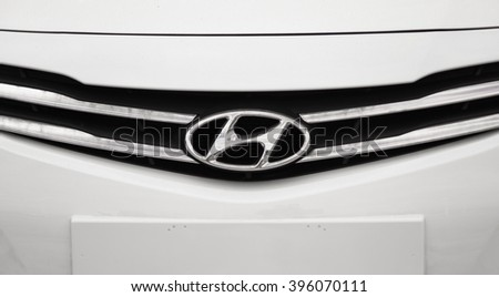 Novokuznetsk, Russia - March 22, 2016: Logotype of Hyundai corporation on car Hyundai Accent (Solaris)