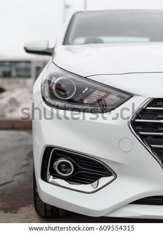 Novokuznetsk, Russia - Mart 25, 2017: Hyundai Accent (Solaris) lamp