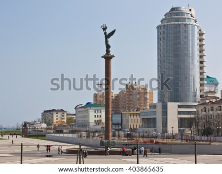 NOVOROSSIYSK, RUSSIA - APRIL 23, 2010: The waterfront of Novorossiysk - a major port city in the South of Russia - stock photo