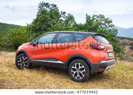 Novorossiysk, Russia - August 21, 2016: Closeup photo of Renault Kaptur car. It is a Russian version of subcompact crossover Renault Captur with 4wd, extended wheelbase, elevated ground clearance