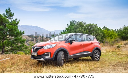 Novorossiysk, Russia - August 21, 2016: Renault Kaptur. It is a Russian version of subcompact crossover car Renault Captur with extended wheelbase, elevated ground clearance and four-wheel-drive