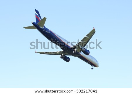 NOVOSIBIRSK - JULY 31: Airbus A321 Aeroflot airlines at Novosibirsk Tolmachevo Airport. Aeroflot founding airline of world's 2nd largest airline alliance- Skyteam. July 31, 2015 in Novosibirsk Russia - stock photo