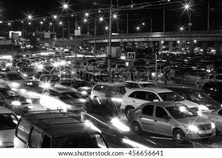 NOVOSIBIRSK - JUNE 26, 2016: Road, a traffic nightmare. Russia - stock photo