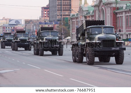 NOVOSIBIRSK - MAY 5: The Rehearsal of a parade dedicated to Victory Day in World War II, display of military equipment on May 5, 2011, Novosibirsk Russia