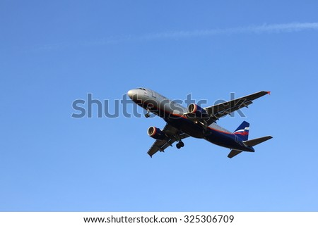 NOVOSIBIRSK - OCT. 08: Airbus A320 Aeroflot at Novosibirsk Tolmachevo Airport. Aeroflot founding airline of world's 2nd largest airline alliance Skyteam. October 08, 2015 in Novosibirsk Russia - stock photo