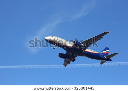 NOVOSIBIRSK - OCT 10: Airbus A320 Aeroflot at Novosibirsk Tolmachevo Airport. Aeroflot founding airline of world's 2nd largest airline alliance Skyteam. October 10, 2015 in Novosibirsk Russia
