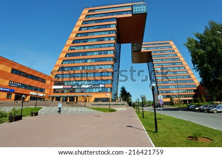 NOVOSIBIRSK, RUSSIA - AUGUST 31, 2014: Building of Information Technology Center in Akademgorodok. The building completed in 2013 become one of the symbols of Novosibirsk technopark - stock photo