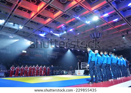 NOVOSIBIRSK, RUSSIA - NOVEMBER 8, 2014: Opening ceremony of the Friendship Cup. The competitions between Siberian and North Caucasus teams include 10 kinds of martial arts