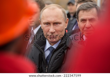 Novosibirsk, Russia - October 8, 2014: Vladimir Vladimirovich Putin (Russian President) at the opening of the third bridge in the city of Novosibirsk - stock photo