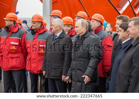 Novosibirsk, Russia - October 8, 2014: Vladimir Vladimirovich Putin (Russian President) at the opening of the third bridge in the city of Novosibirsk