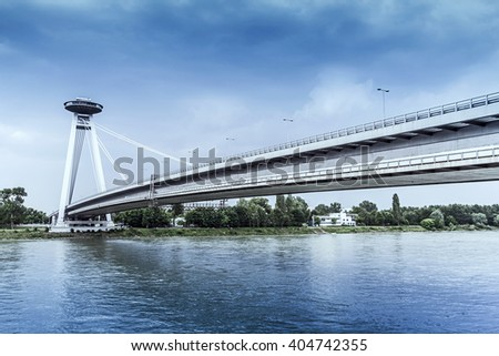 Novy Most Bridge across the Danube River in Bratislava, Slovakia - stock photo