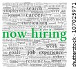 Now hiring and job search concept in word tag cloud on white background - stock