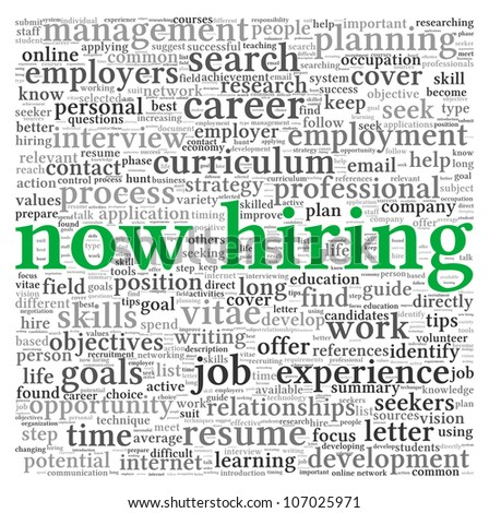 Now hiring and job search concept in word tag cloud on white background - stock photo