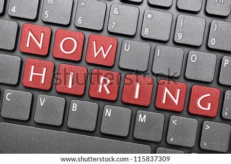 Now hiring on keyboard - stock photo
