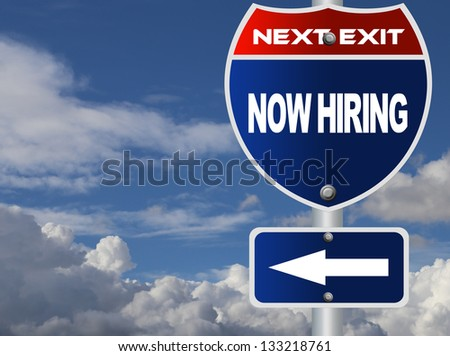Now hiring road sign - stock photo