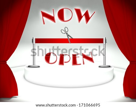 Now open on theater stage, red ribbon and scissors - stock photo