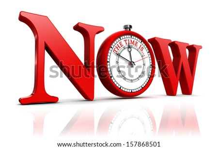 now red word and clock. - stock photo