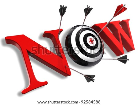 now red word and conceptual target with arrow on white background